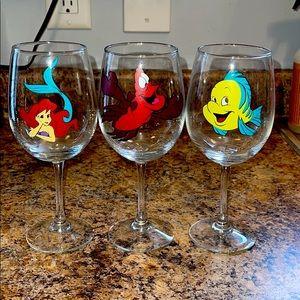 Three Disney Little Mermaid wine glasses 🍷 🧜♀️